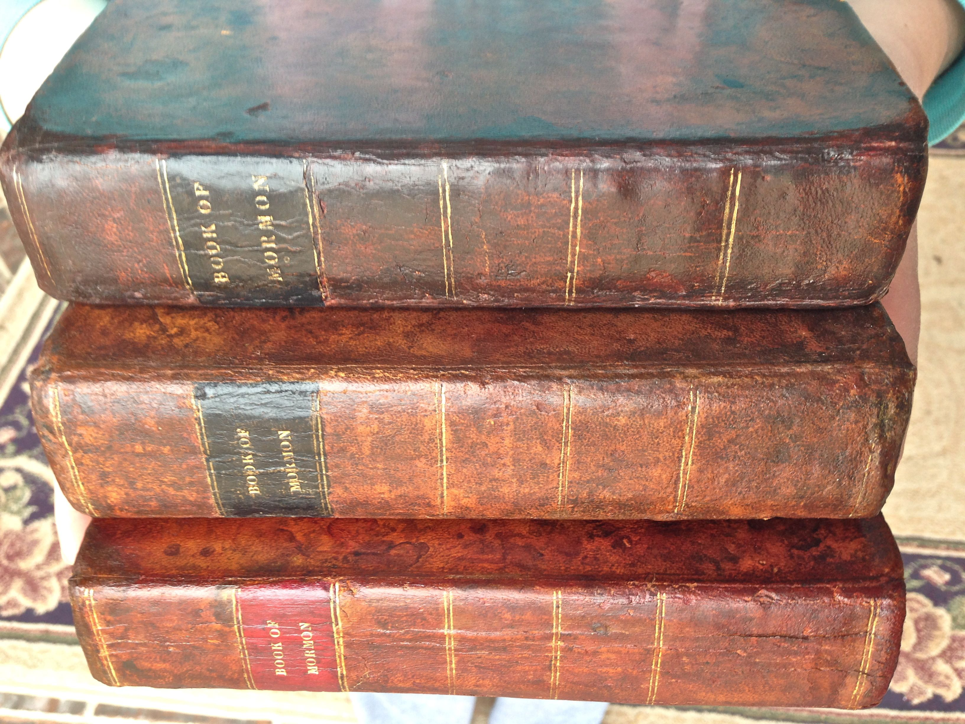 Three First Edition Copies Of The Book Of Mormon The Copy On The Bottom Is The Rare Red Label Copy Only A Few The Book Of Mormon Rare Books Book Of Mormon