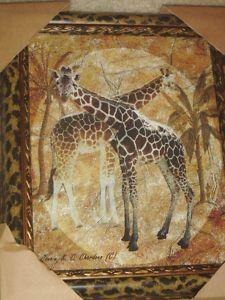 Cheetah Leopard Frame Safari Giraffe Framed Wall Art Picture Decor