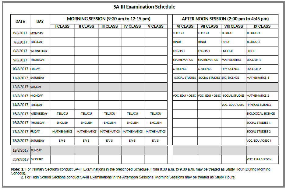 Ap Sa Summative  Exams Time Table March   Summative