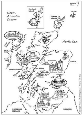 Map Of Scotland Colouring Page Burns Night Katie Morag