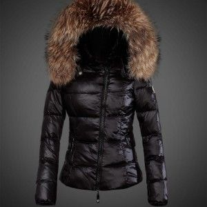 Black Short Moncler Jacket for Women with Oblique Zipper and Fur Cap 2015  289$ miss