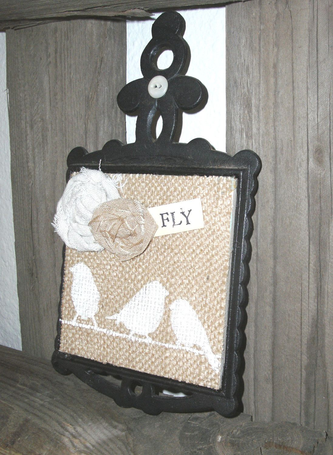 Burlap Kitchen Trivet. $14.50