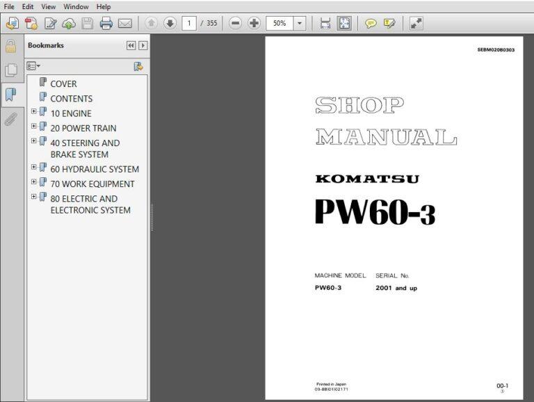 Komatsu Pw60 3 Service Repair Manual Sn 2001 Up Pdf Download Repair Manuals Komatsu Hydraulic Systems