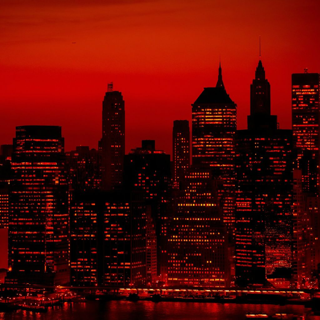 Wallpaper Iphone New York: Red Sky At Night New York City #iPad #wallpaper