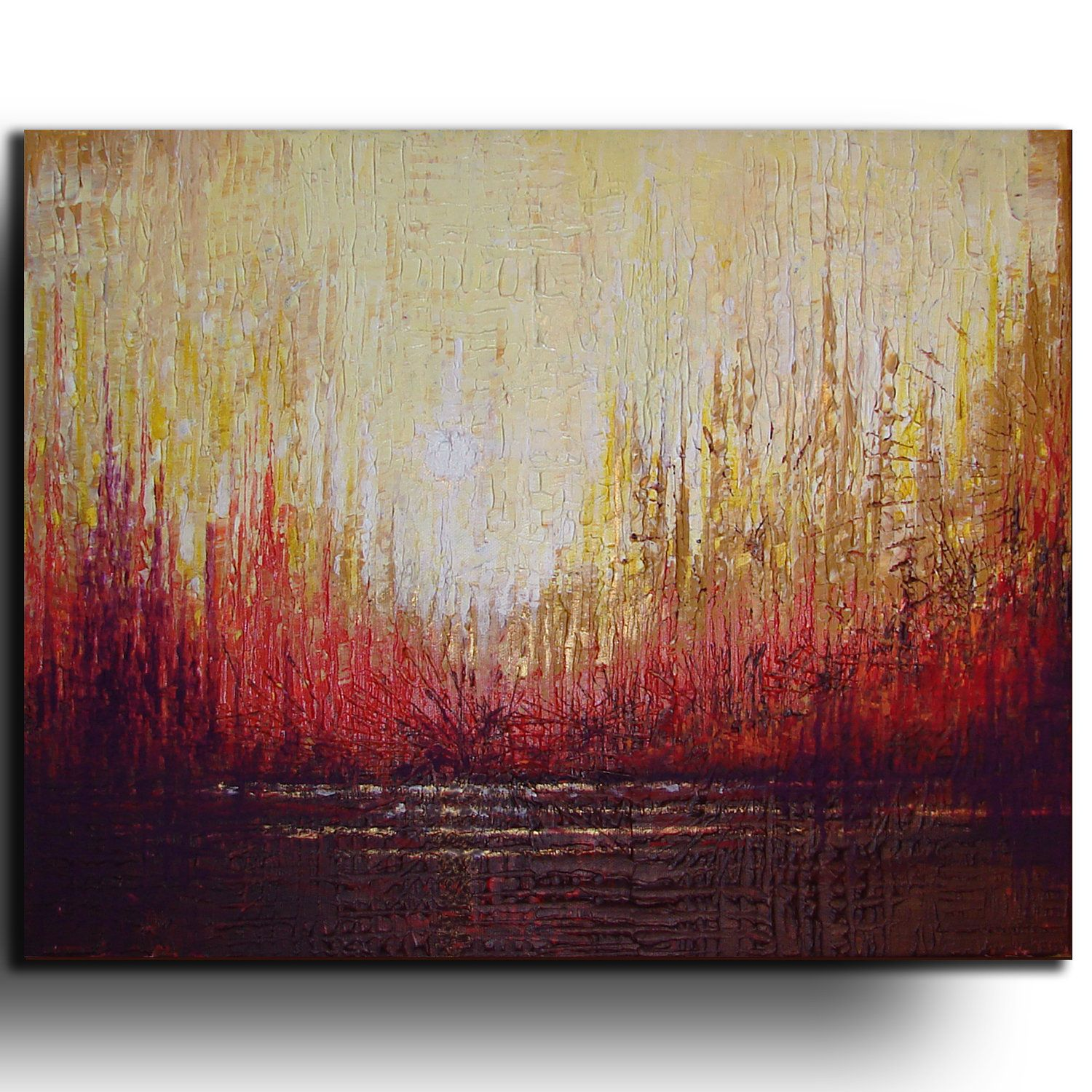 16 x20 original abstract landscape painting by tatjana for Palette knife painting acrylic