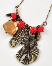 Feather and bead necklace.  Available in gold and silver, $24
