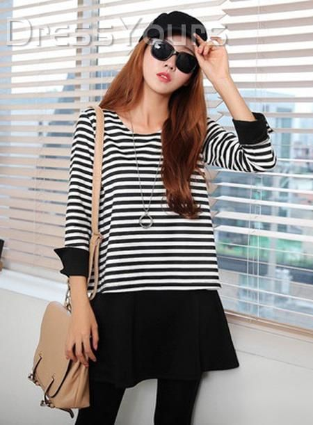 US$23.99 Auspicious Black and White Pinstriped Cotton Casual Dress. #Sleeve #Dress #White #Casual