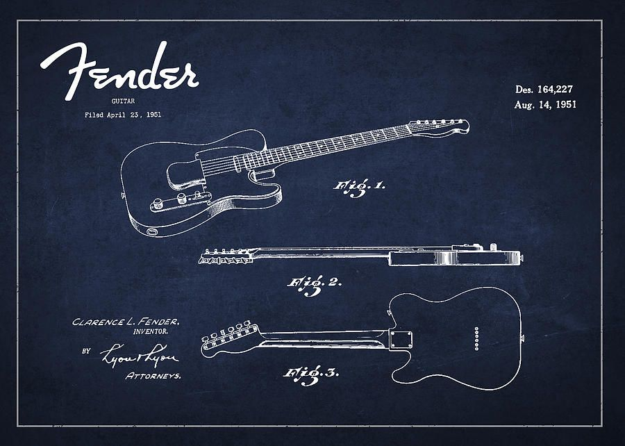 Vintage Fender Guitar Patent Drawing From 1951 Drawing