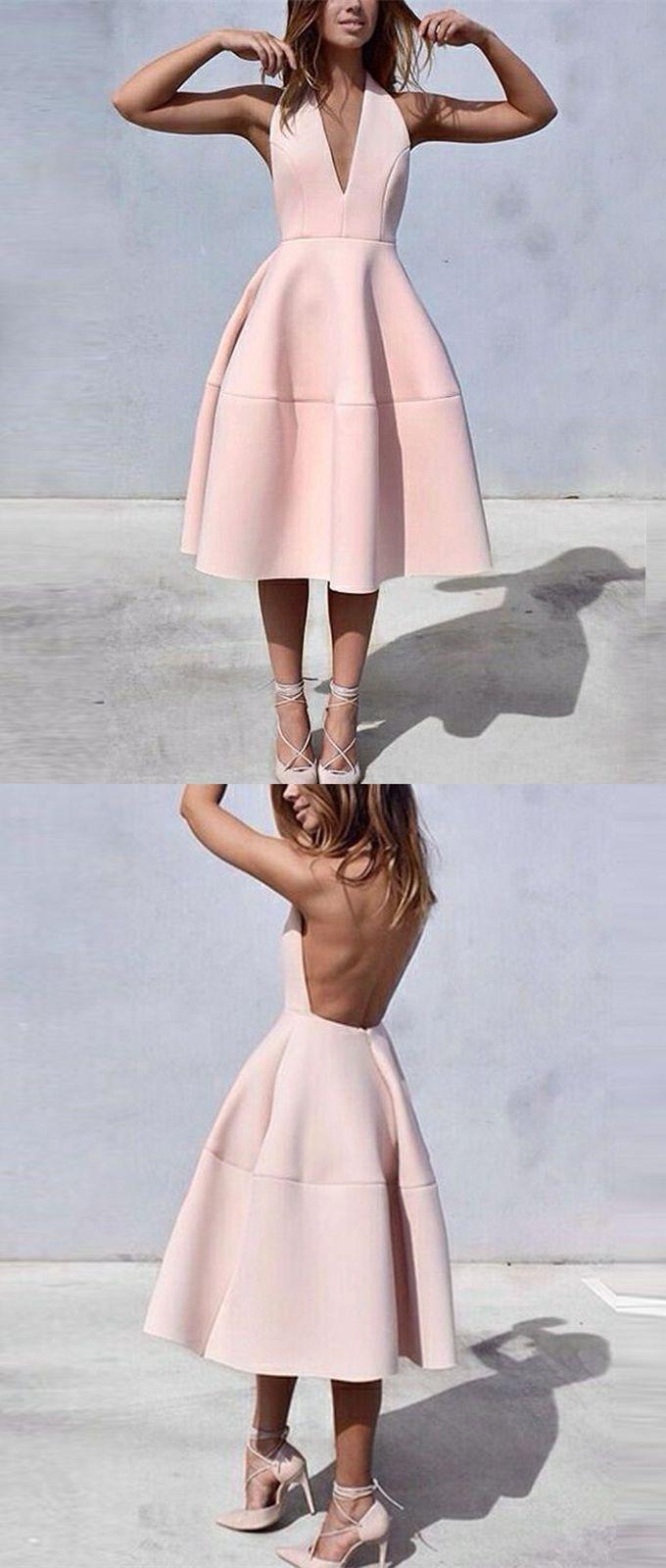 Aline halter sleeveless backless tealength pink satin homecoming