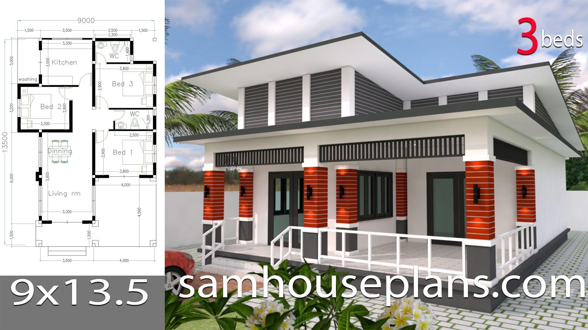 House Plans 9x13 5 With 3 Bedrooms House Plans Free Downloads Bungalow House Design Duplex House Design House Plans