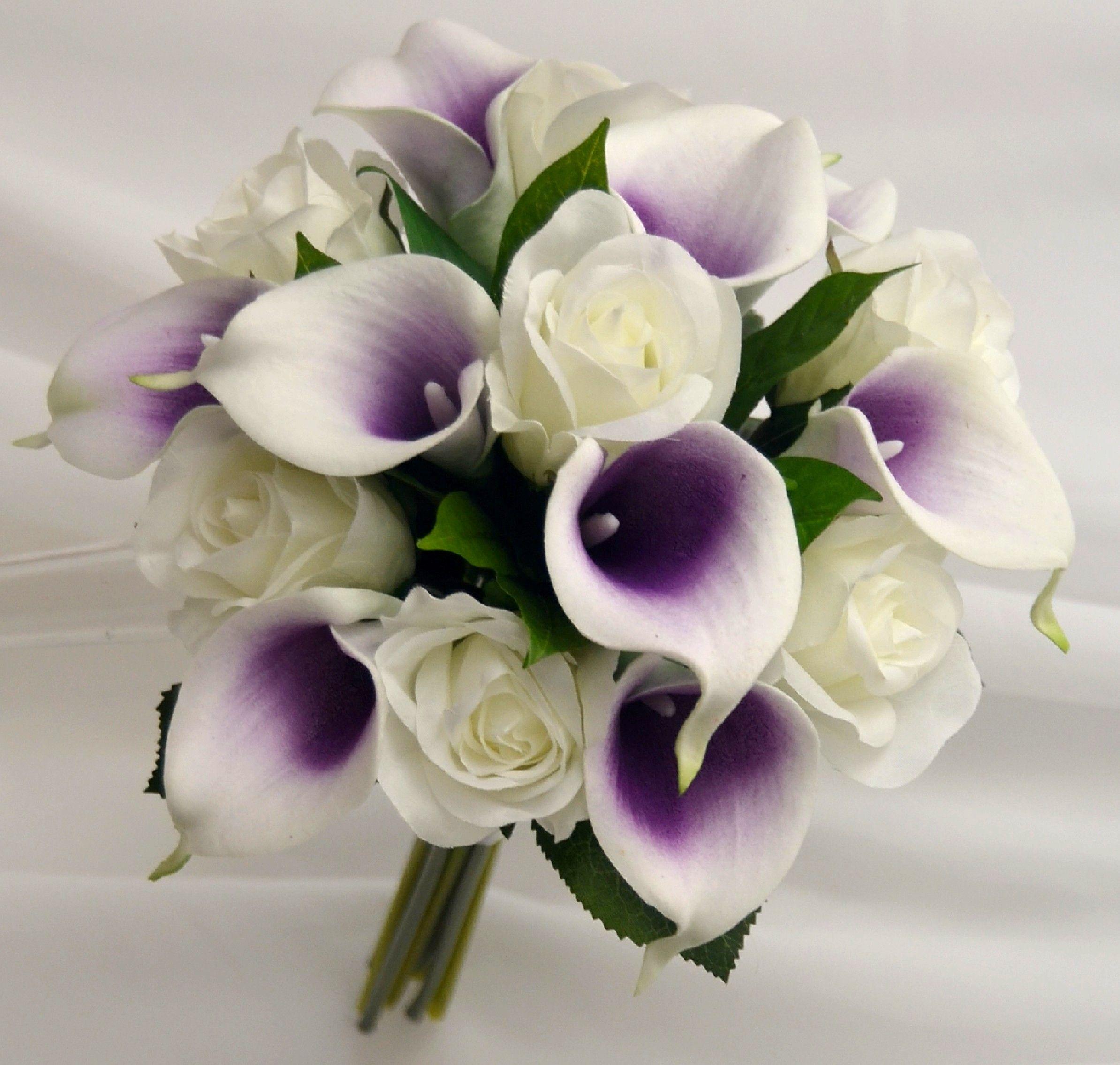 Calla Lily Rose Bridal Posy Bouquet Purple Calla Lilies Wedding