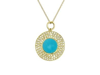 486d228599b40 Pave Diamond and Turquoise Evil Eye by Jennifer Meyer | Early Spring ...