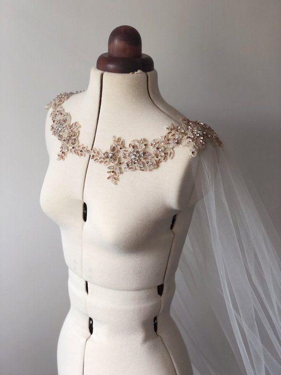 Photo of Rose Gold Shoulder Necklace – Crystal Cape Veil – Bridal Cap…