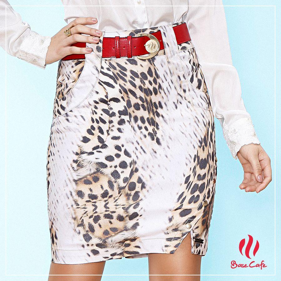 Saia animal print com fenda lateral e cinto personalizado da Base Café! #verao2016