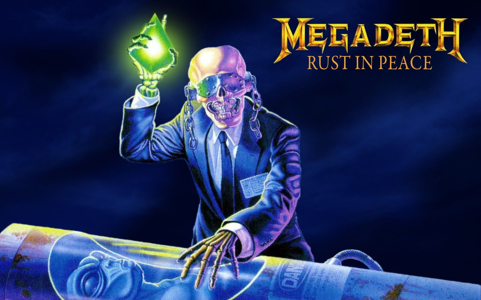 Megadeth Rust In Peace Album Cover Rust In Peace Vic Rattlehead Megadeth Thrash Metal Big 4 Heavy Metal Metal Music Dave Mustaine Band 90s Album Cove Pelangi