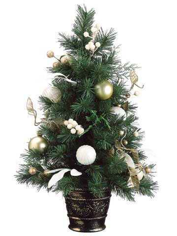3499 4499 2 tiffany gold pre decorated potted artificial christmas tree unlit - Fully Decorated Artificial Christmas Trees