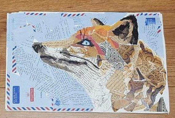 Fox head collage art by cozyfoxy on Etsy