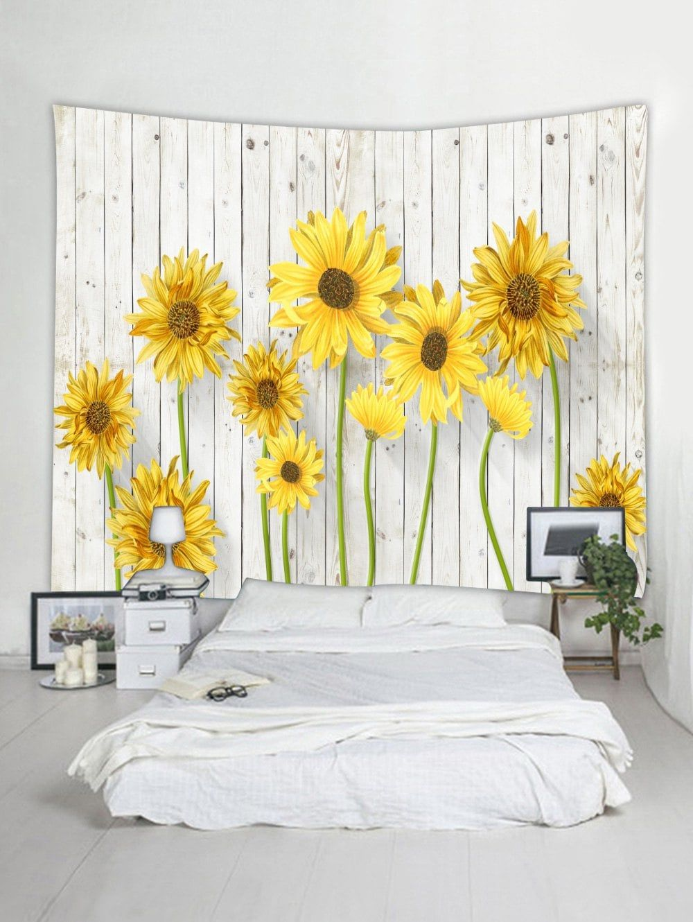 Blooming Sunflower Pattern Wall Decor Tapestry Yellow W59 Inch
