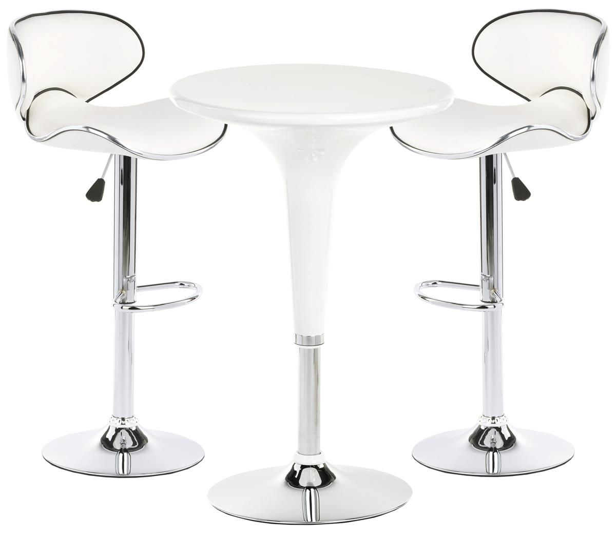 Pub Set with 1 Round Cocktail Table 2 Adjustable Leatherette Stools White