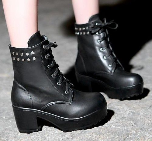 Womens Punk Emo Rock Lace Up Studded Block Chunky Heel Platform Ankle Boots #D73 | eBay
