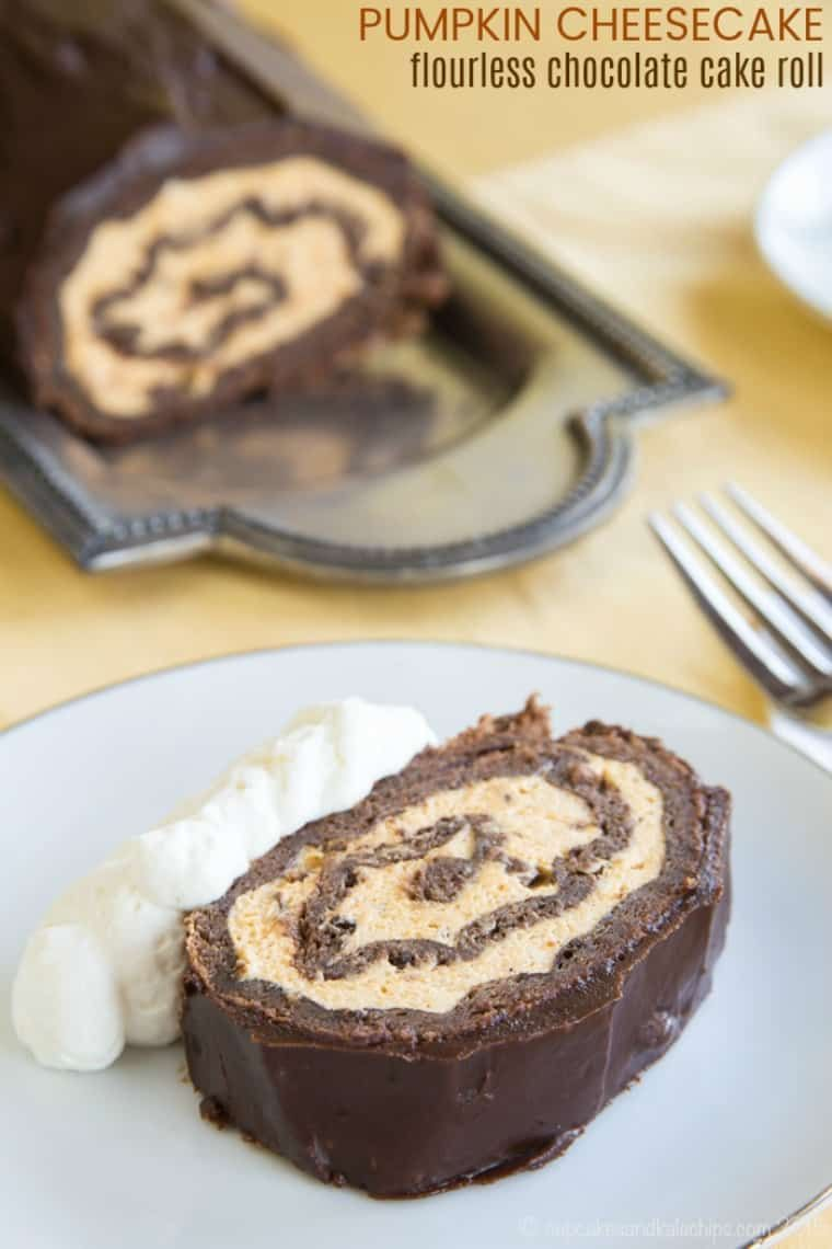 Cheesecake Flourless Chocolate Cake Roll - an easy flourless chocolate cake recipe is rolled up with a fluffy pumpkin cheesecake mousse and covered in rich chocolate ganache. This simple but impressive gluten free dessert recipe is sure to be a fall fa...