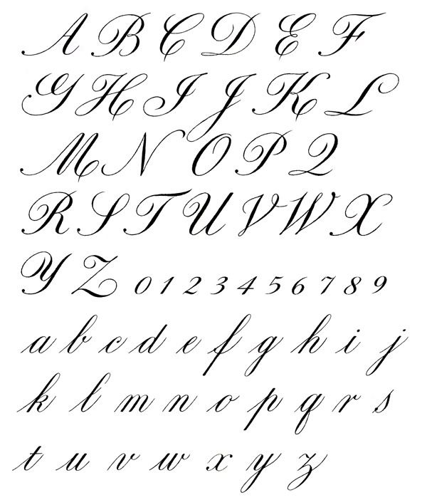 Depository of handwriting and calligraphy styles and Calligraphy alphabet cursive