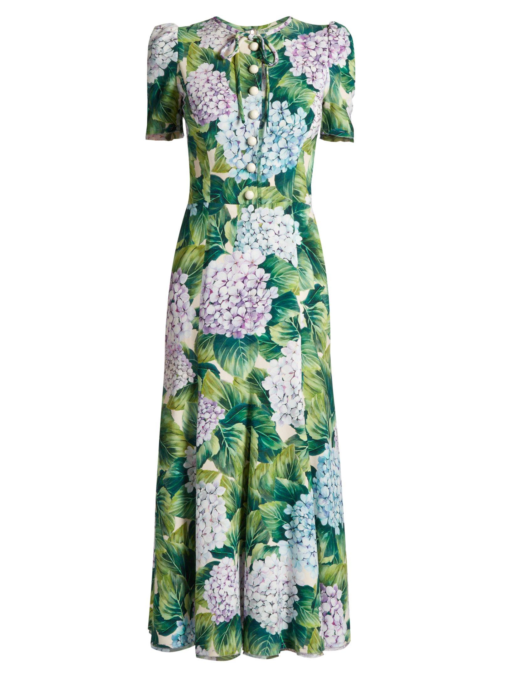 Click here to buy Dolce & Gabbana Hortensia-print cady midi dress at  MATCHESFASHION.