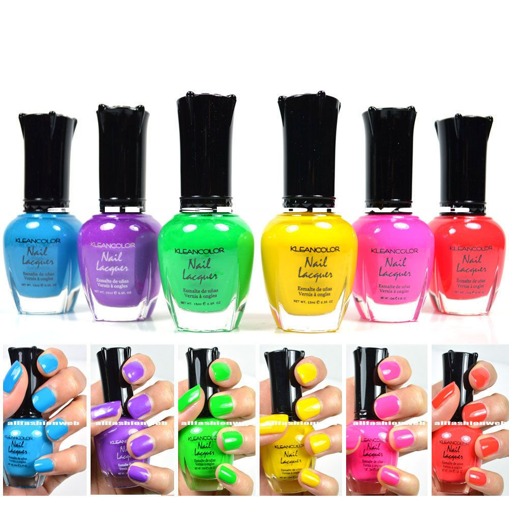 Kleancolor Nail Polish NEON Colors Lot of 6! Lacquer Neon Collection ...