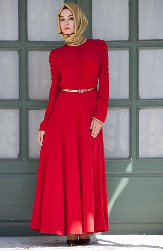 Kirmizi Elbise Hennin Tesettur Giyim Modelleri Modest Outfits High Neck Dress Outfits