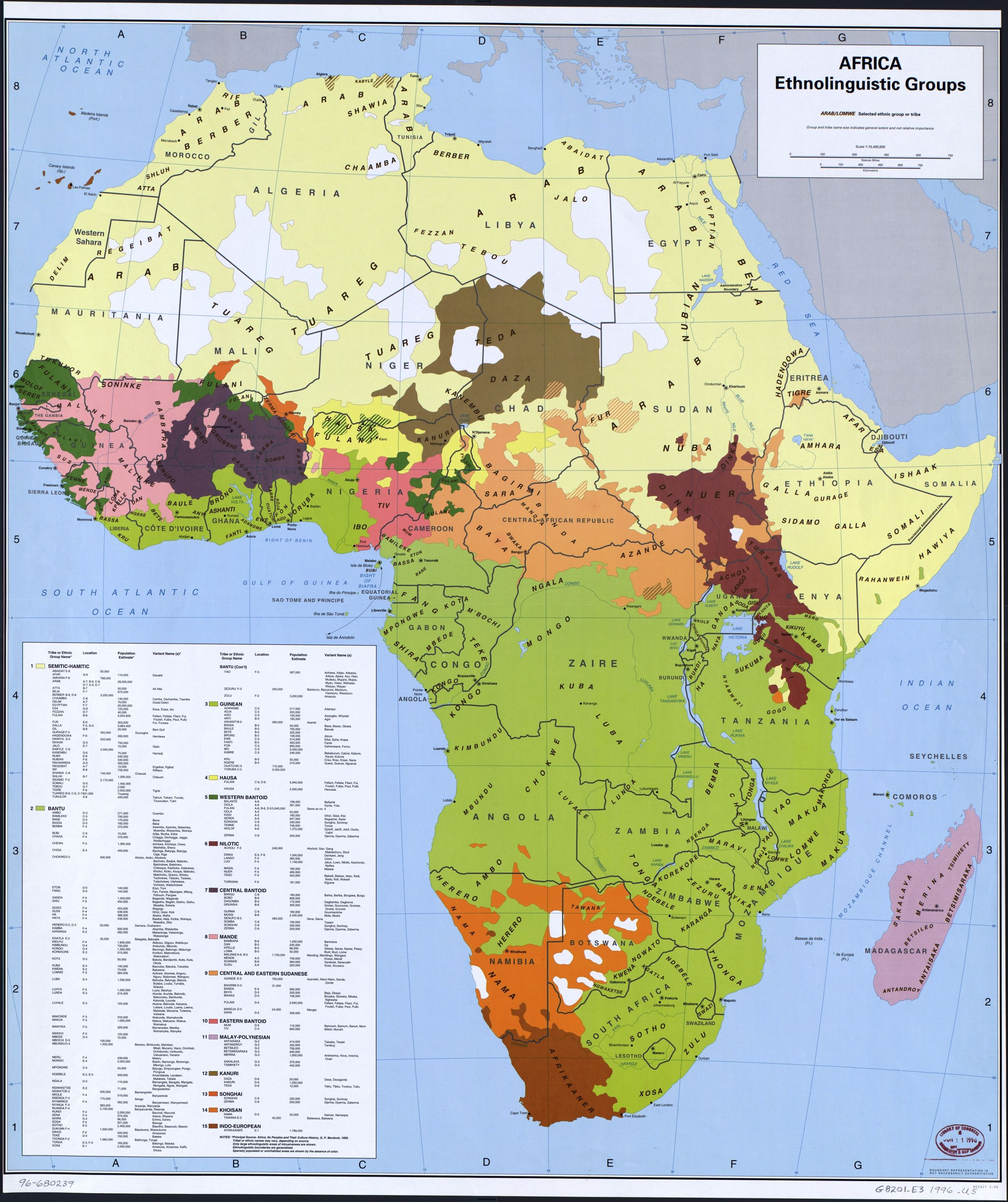 George Murdocks map of the Ethnolinguistic groups of Africa
