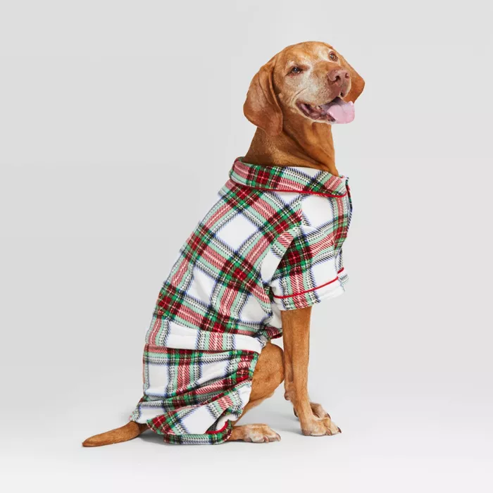 Holiday Tartan Plaid Cat & Dog Pajamas White