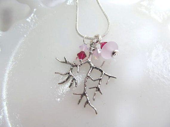 Necklace branch charm silver tone pink por KeepsakeDesignsbyCMM, $27.95