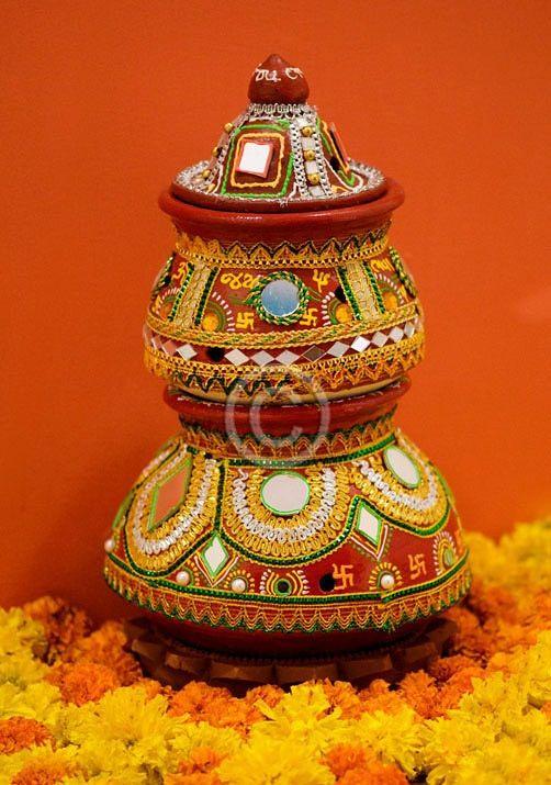 Navratri and diwali darba pot decoration ideas wallpaper for Annakut decoration ideas