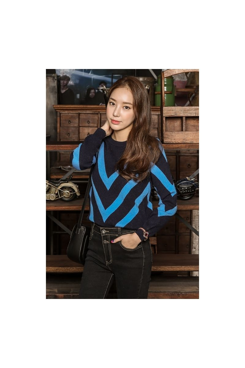 Womens Navy Blue V-pattern Crewneck Knitted Tops Sweaters Korean Store