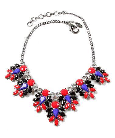 Look at this #zulilyfind! Black & Ruby Austrian Crystal Pondicherry Necklace #zulilyfinds