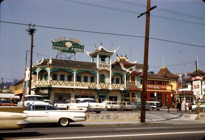 "LOS ANGELES 1961: Here's a beauty from Chinatown in 1961. From the caption (courtesy the FB group VINTAGE LOS ANGELES): ""Looking at Chinatown in March, 1961. At this time it was often referred to as ""New Chinatown"". The original L.A. Chinatown area was razed for Union Station and New Chinatown was developed in its nearby current location."""