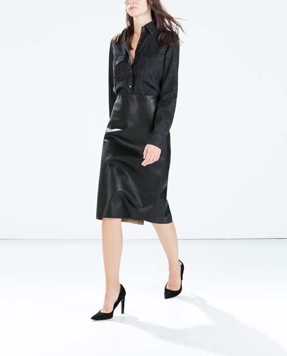 ZARA - WOMAN - SYNTHETIC LEATHER PENCIL SKIRT