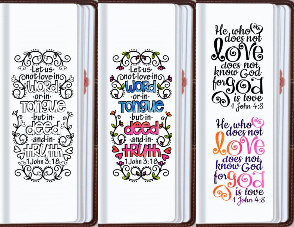 Love bible journaling printable templates illustrated for Religious bookmark templates