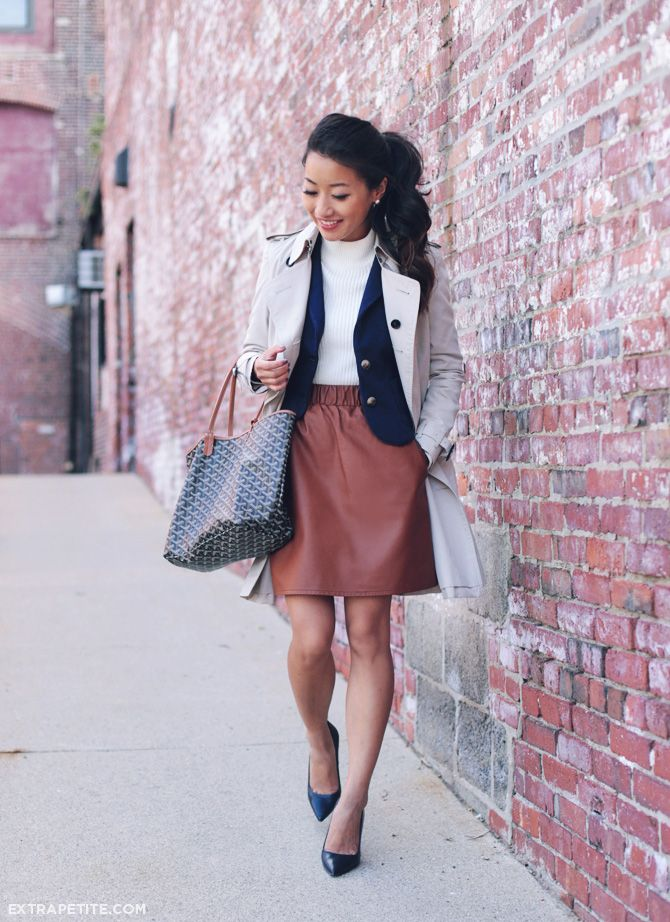 Fall outfit idea // navy blazer   cognac skirt   burberry trench ...