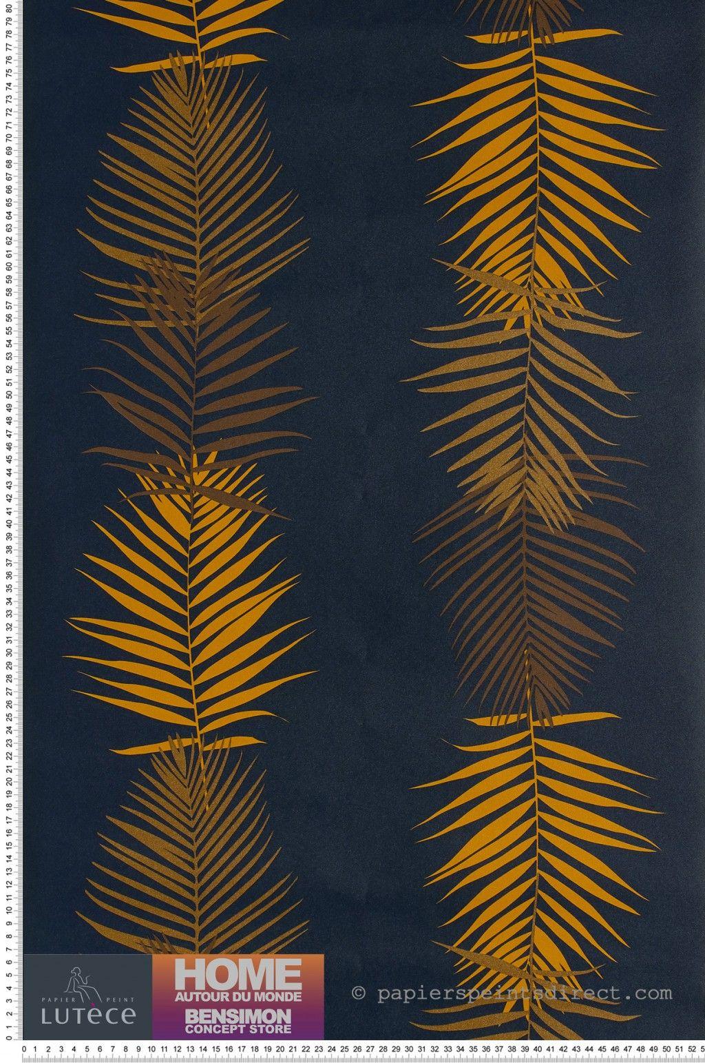 Papier Peint Feuille De Palmier Navy Collection Bensimon De Lutece