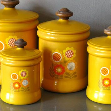 Amazing 70s Canister Sets Flowers | Kitchen Canister Set Metal Yellow Flower By  Westbend Yellow Kitchen .