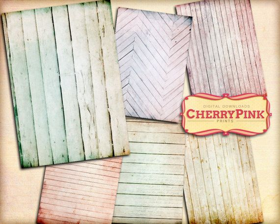 Wood Collage sheet 6 designs 5x7 inch rustic by CherryPinkPrints