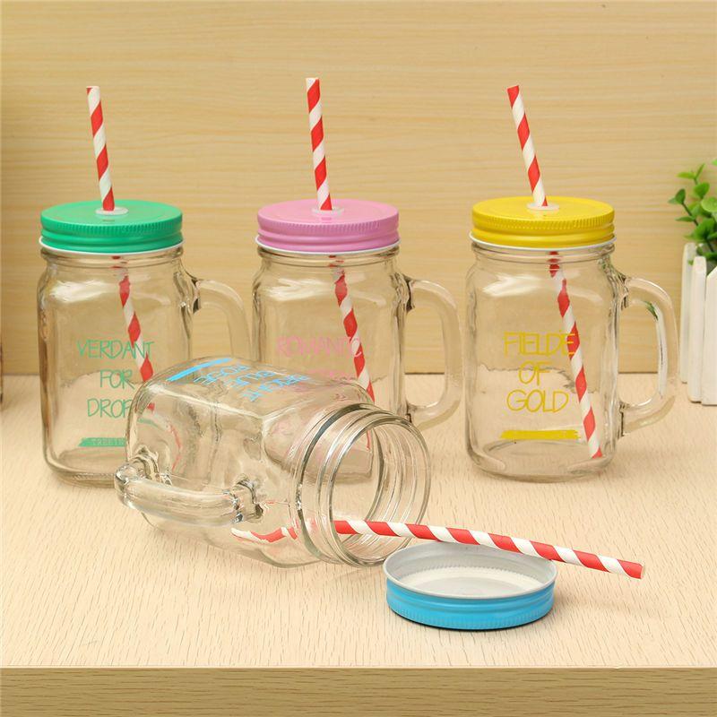 new arrival 450ml transparent fruit juice cool drink glass cup mug mason jar lemon bottle with - Mason Jar Drinking Glasses