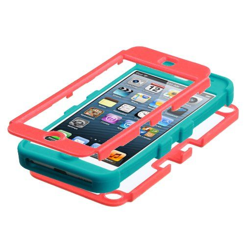 Thousand Eight(TM) iPod touch 5 (5th generation) Heavy Duty Defender Tuff Hybrid Hard Case With Kickstand Case + [FREE Touch Screen Stylus] (Diamond Baby Red/Tropical Teal):Amazon:Cell Phones & Accessories