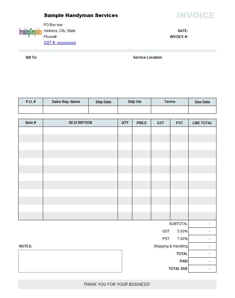Free Handyman Invoice Template Invoice Template Word Invoice Template Notes Template