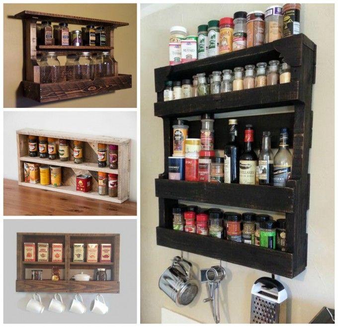 bricolaje de madera de palets estante de especia para su cocina