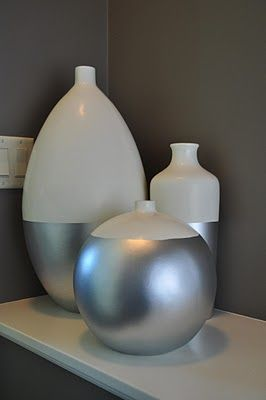 b1998691d0 I think I can do this! Spray painting white vases with silver ...