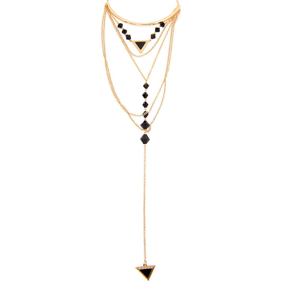 <P>Take your style to new levels with this layered chain statement necklace. Black triangle stones, beads and multiple gold chains decorate this chic necklace.</P><UL><LI>Gold metal finish<LI>Long and multi strand chain<LI>Black triangle pendant<LI>Lobster clasp fastening</LI></UL>