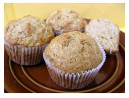 pear-muffins - These were DELICIOUS! I'm going to make a ton for the freezer. I substituted applesauce for the oil and used 1/2 whole wheat and 1/2 AP flour. Nutritional: 124 cal, 1.1 fat, 4.5 protein, 25 carb.