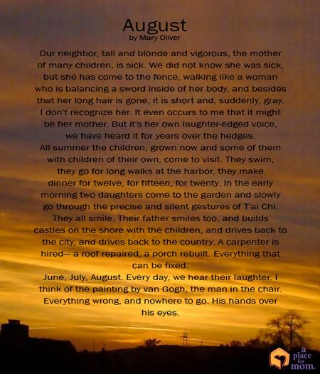 Poem: August by Mary Oliver | Inspirational Quotes | Mary
